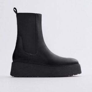 Zara black leather flat platform ankle boots